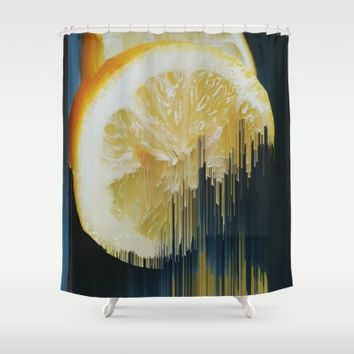 Lemony Good Glitch Shower Curtain by Ducky B