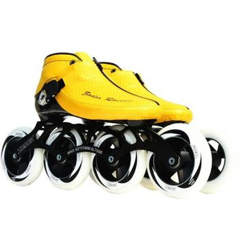 Worth Carbon Fiber Fiberglass Speed Inline Skates Yellow Kid's Adult Competition Street Racing Sport Shoes Training Patines F017