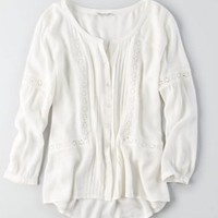 AEO Embroidered Peasant Top , Navy | American Eagle Outfitters