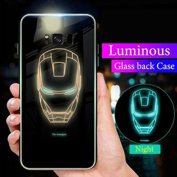 Luxury Case For Samsung Galaxy s9 s8 plus Luminous Glasses Tiger Ironman Spiderman Coque Cover For Samsung Galaxy Note 9 8 Cases