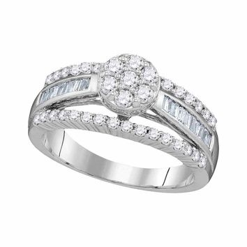 10kt White Gold Womens Round Diamond Flower Cluster Bridal Wedding Engagement Ring 1.00 Cttw