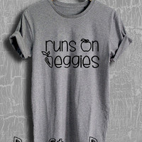 Runs on Veggies Shirt Vegan Shirt Vegetables Tshirt Veggie Unisex Size T-Shirt