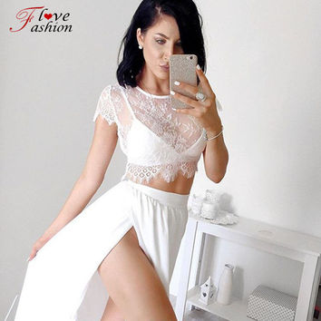 2016 summer new design 2 piece set sleeveless hollow out casual lace dress high split maxi dresses