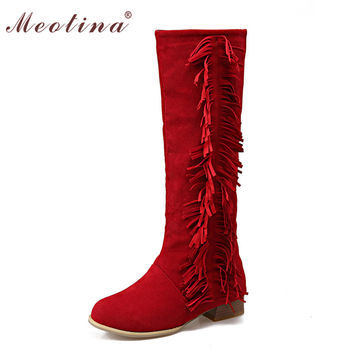 Shoes Women Boots Flat Knee High Boots Fashion Tassel Riding Boots Ladies Shoes Black Red Large Size