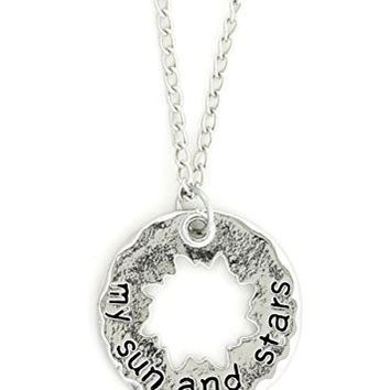 My Sun and Stars Necklace Silver Tone NR62 Cut Out Sunburst Sun Charm Pendant Fashion Jewelry