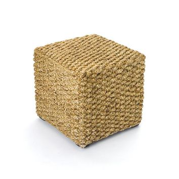 Woven Square Stool with Natural Finish