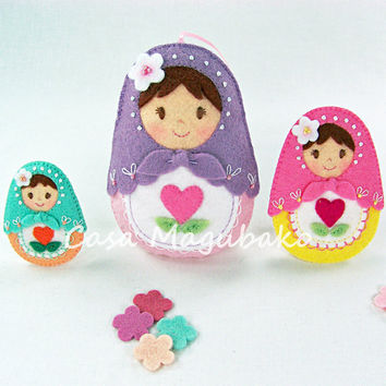 Felt Matryoshka Doll Tutorial - DIY Embellishment or Ornament - PDF File - 3 Sizes - Instant Download