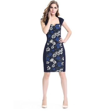 2018 free delivery door dress office jacket sexy side collar print flowers sleeveless stitching pencil dress vestidos plus size