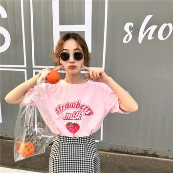 Harajuku Kawaii Loose Strawberry Milk T Shirt Tops Women Summer Korean Fashion Ulzzang Tshirt Schoolgirl Streetwear Cute Clothes