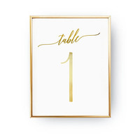 Table Number Minimal, Wedding Decoration, Wedding Signs, Real Gold Foil Print,Wedding Print,Gold Foil Sign Wedding,Wedding Decor,Table Decor