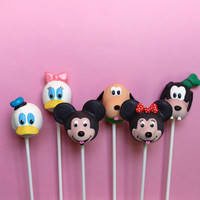 12 Cake Pops for Disney Character party - inspired by Mickey, Minnie, Donald, Daisy, Goofy, Pluto, for birthday, shower, favors, cake topper