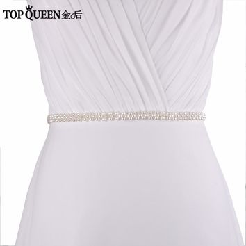TOPQUEEN S34S-I Wedding Belts  Embellished Belts for Bridesmaid Dresses Women's  Pearls Wedding Beaded Belts for Prom Dresses