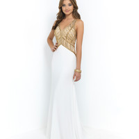 Off White & Gold Beaded Halter V-Neck Cut Out Back Gown