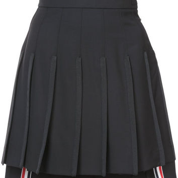 Thom Browne Dropped Back Mini Pleated Skirt With Grosgrain Tipping In Black Extra Fine Merino Kid Mohair - Farfetch
