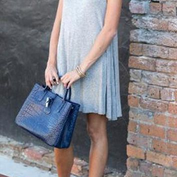 Casual Grey Plain Hollow-out Draped Open back Sleeveless Mini Dress