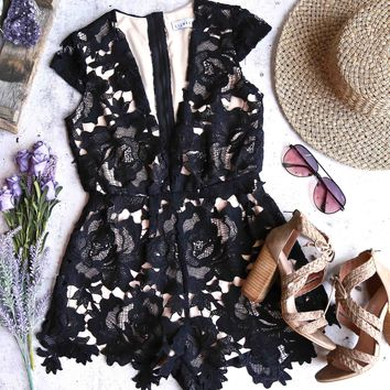 lioness - floral appliqué deep plunge tailored romper - black