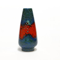 Dümler & Breiden Cone Vase Vase | German Pottery | Fat Lava Vase | Vintage West Germany Ceramic vase in red and blue | 25 cm