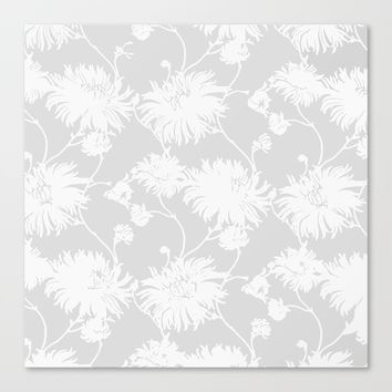 White Floral Poms Canvas Print by All Is One
