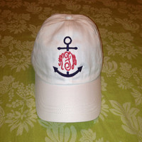 Nautical Anchor Monogram Baseball Hat Cap