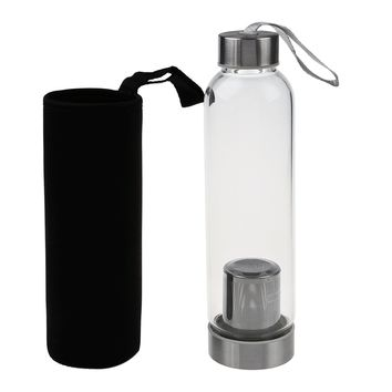 Hot Glass Sport Water Bottle With Tea Filter Infuser Protective Bag