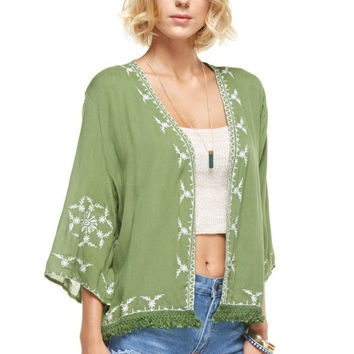 Embroidered Open Cardigan