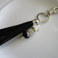 European bead charm keychain with black suede leather tassel, european bead charms, key chain purse charm, leather key chain, tassel for key