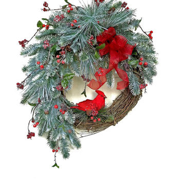 Red Bird Christmas Wreath for Door, Holiday Wreath, Winter Wreath,Seasonal Wreath,Evergreen,Festive Wreath,Berry