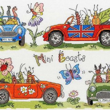 Free dleivery Top Quality lovely counted cross stitch kit Mini Beasts Beast Bugs Bug bothy threads animal driving car