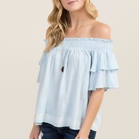 Emma Ruffle Smocked Off The Shoulder Top