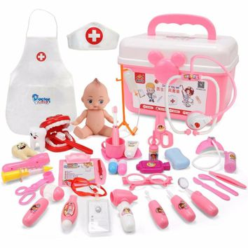 Children's doctor toy sets sounding lights stethoscope medical tools simulation home care medical kit