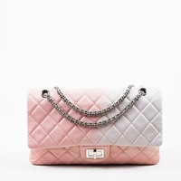 """Chanel Pink and White Leather Ombre Degrad̩ """"2.55 Reissue 227"""" Jumbo Double Flap Bag"""