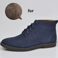 2013 Hot Classic 100% Genuine Leather Fur Snow Boots Men Winter Suede Boots Outdoor Brand Work Rubber Sole Shoes+Free Shipping