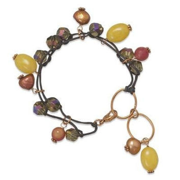 """7.5"""" Multistrand Beaded Cord Copper Bracelet with Fire Agate"""