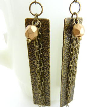 Antique Gold Bar Earrings - Bronze Bar w/ Chains Dangle Earring - Rectangular Earring - Unique Modern Jewelry