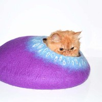 Purple Cat Bed Cats Cave Pets House Felted Wool Size M