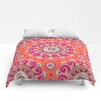 Pink & Orange Mandala Comforters by Sarah Oelerich