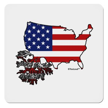 """American Roots Design - American Flag 4x4"""" Square Sticker by TooLoud"""