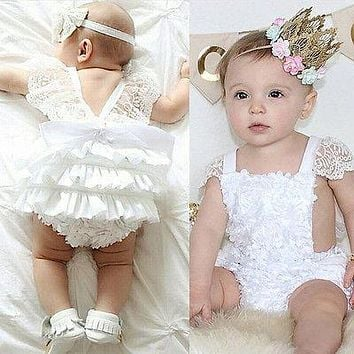 0-18M Newborn Baby Girls Clothes Super Cute Princess Girl Cake Dress Bodysuit Lace Party Playsuit One Pieces