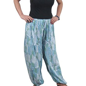 Mogul Interior Women's Harem Pants Ethnic Grey Printed Yoga Bellydance Gauchos Hippie Chic