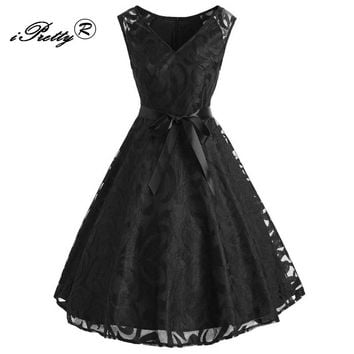Robe Femme Vintage Black Purple Lace V Neck Women Elegant Party Dress 50s 60s Retro Rockabilly Swing Sleeveless Dress Vestidos