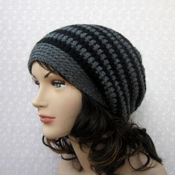 Black Gray Stripe Slouchy Crochet Hat - Womens Slouch Beanie - Oversized Cap - Fall Winter Fashion Accessories