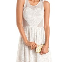 Lace Heart Mesh Top Skater Dress: Charlotte Russe