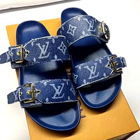 LV tide brand female models wild flat open toe sandals blue