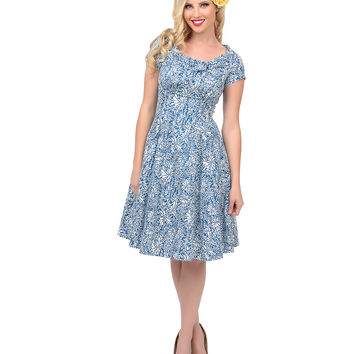1950s Style Blue Fiona Petals Beverly Swing Dress