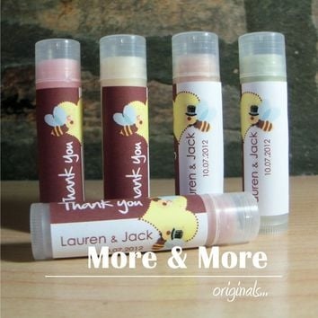 Wedding Favors - Lip Balms - Set of 100 - Choose Flavor and Design - Custom Wedding Favors