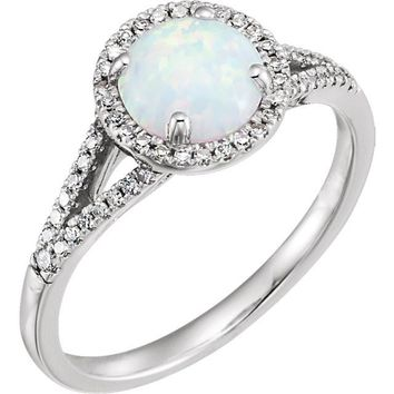 14kt White Gold Round Created Opal & 1/5 CTW Diamond Halo Ring