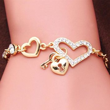 Crystal Heart Bracelets Gold Color Lock & Key Charms Bracelets
