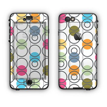 The Retro Colorful Filled Flat Circle Pattern Apple iPhone 6 Plus LifeProof Nuud Case Skin Set
