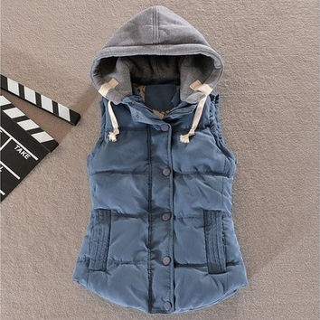 Women Fashion Hooded Vest Sleeveless Winter Outdoor Sport Waistcoat Button Outwear Jacket [8323330881]