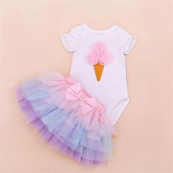 Baby Happy Bday Tutu Clothing Set
